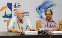 Renowned British Film Editor, Humphrey Dixon addressing a press conference, at the 46th International Film Festival of India (IFFI-2015), in Panaji, Goa on November 27, 2015.